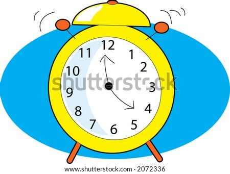 Alarm Clock ringing with two clappers on blue background