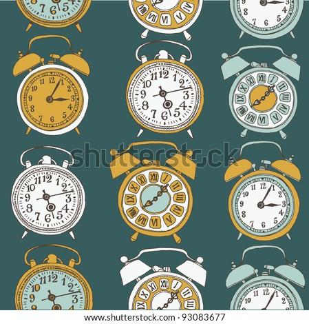 alarm clock. seamless pattern