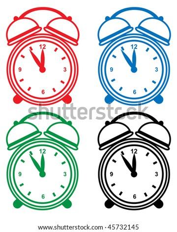 Alarm clock set isolated on a white background.
