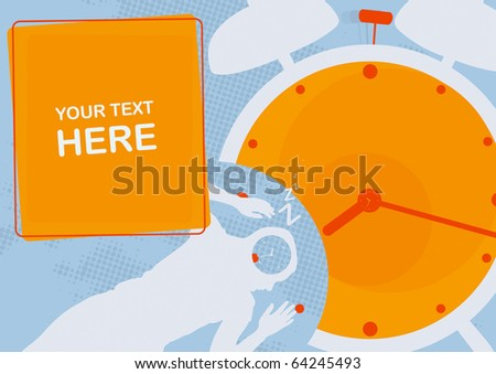 Alarm clock, the sleeping person and transient time - stock vector