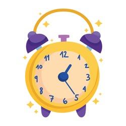 alarm clock wakeup time cartoon icon vector illustration