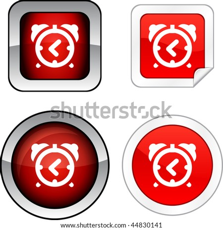 alarm-clock   web buttons. Vector illustration.