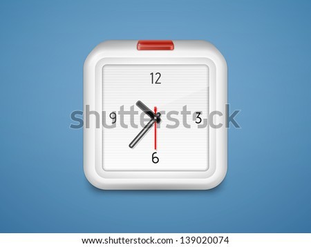 Alarm clock with a red button. Vector illustration - stock vector