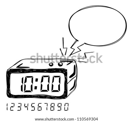 alarm clock with bubble speech