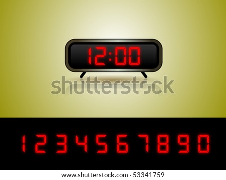 Alarm Clock with Digits Vector Layered vector illustration of a digital alarm clock on a green gradient background.