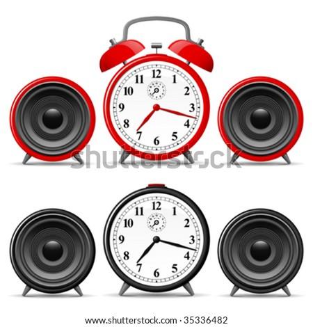 Alarm clock with speakers - vector - stock vector
