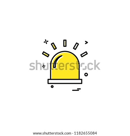alarm flasher light red warning icon vector desige