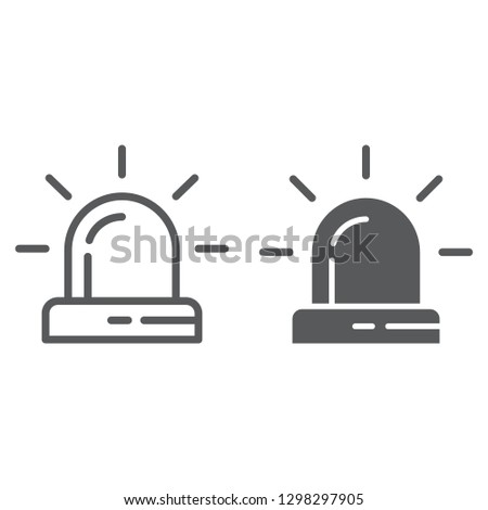 Alarm line and glyph icon, attention and alert, siren sign, vector graphics, a linear pattern on a white background.