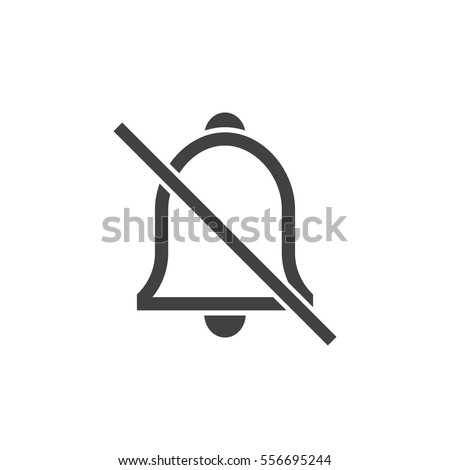 Alarm off, bell ring icon on the white background