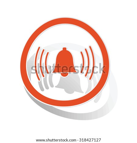 Alarm sign sticker, orange circle with image inside, on white background