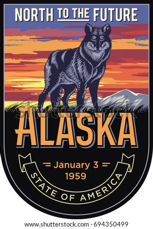 alaska  a stylized emblem of