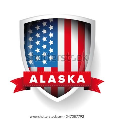 alaska and usa flag vector