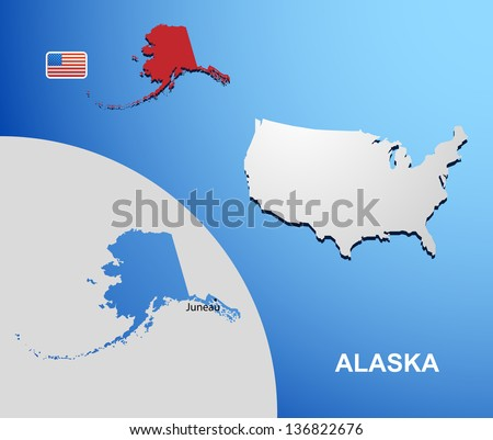 Alaska on USA map with map of the state