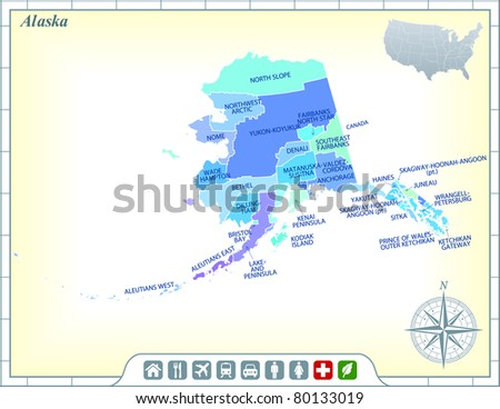 Alaska State Map with Community Assistance and Activates Icons Original Illustration
