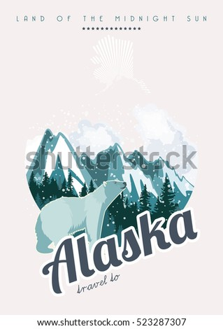 Alaska travel vector poster. USA theme. Illustration of United States of America.
