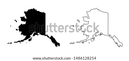 Alaska US Blank Map Vector Template Black Solid Color and Outline Isolated on White Background Stock fotó ©
