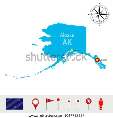 alaska vector map isolated on