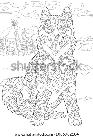 Alaskan Malamute or Siberian Husky. Eskimo Dog. Coloring Page. Adult Coloring Book idea. Antistress freehand sketch drawing with doodle and zentangle elements.