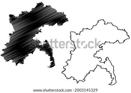 Alb Donau district (Federal Republic of Germany, rural district, Baden-Wurttemberg State) map vector illustration, scribble sketch Alb-Donau-Kreis map Imagine de stoc ©