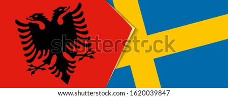 albania and sweden flags  two
