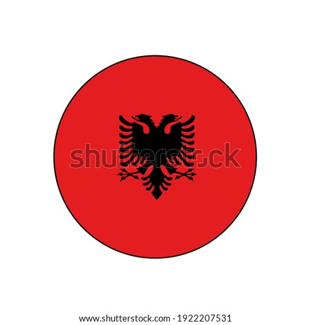 Albania Flag Icon circle push button vector red with coat of arms flag background  Stock photo ©
