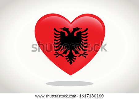 Albania Flag in Heart Shape. Heart 3d Flag of Albania, Albania flag template design.