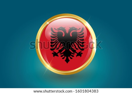 Albania flag in the form of a circle, can be used for independence day or other events. Albania icon gold glossy badge button with Albania flag and shadow on light background. vector illustration.