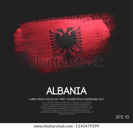 Albania Flag Made of Glitter Sparkle Brush Paint Vector