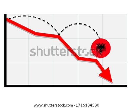 Albania flag with red arrow graph going down showing economy recession and shares fall. Crisis, Albania economy concept. For topics like global economy, Albania economy, banking, finance