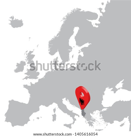 Albania Location Map on map Europe. 3d Albania flag map marker location pin. High quality map of Albania.  Vector illustration EPS10.