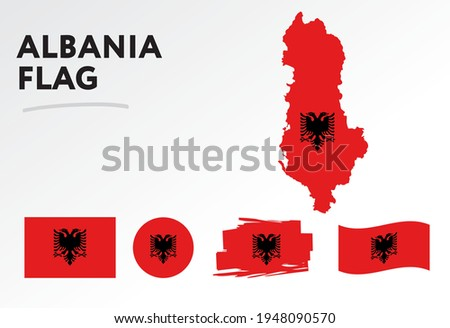 Albania map on Albania flag vector. Circle icon. Brush stroke. Template for independence day. A set of flags.  Stock photo ©