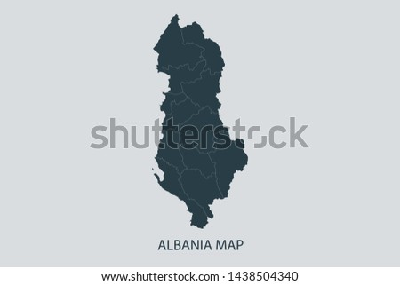 Albania map on gray background vector, Albania Map Outline Shape Gray on White Vector Illustration, Map with name. High detailed Gray illustration map Albania.