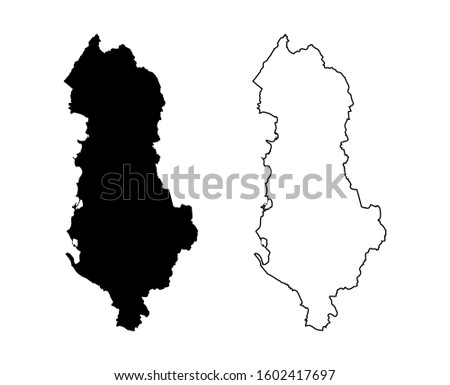 Albania Map Vector- Map of Albania Map Black Silhouette and Outline Isolated on White