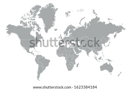 Albania on detailed world map. With overlay Albania flag. The location of the country of Albania on the world map.