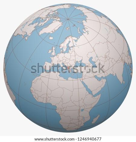 Albania on the globe. Earth hemisphere centered at the location of the Republic of Albania. Albania map.