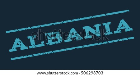 Albania watermark stamp. Text Tag between parallel lines with grunge design style. Rubber seal stamp with unclean texture. Vector blue color ink imprint on a dark blue background.
