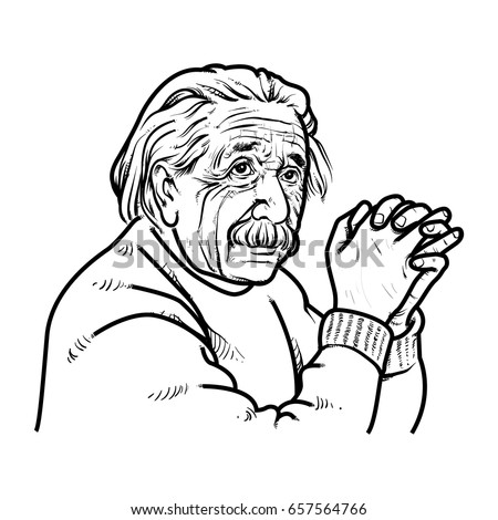 albert einstein hand drawing