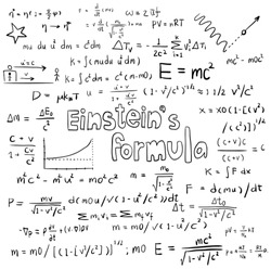 Albert Einstein law theory and physics mathematical formula equation, doodle handwriting icon in white isolated background paper with handdrawn model, create by vector