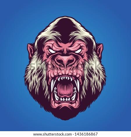 albino gorilla mascot logo