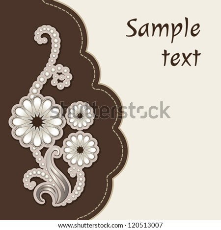 Album cover with floral decorative applique vector background