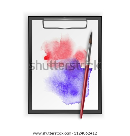 Album for drawing with a blot of watercolor and realistic brushes, vector illustration #1124062412
