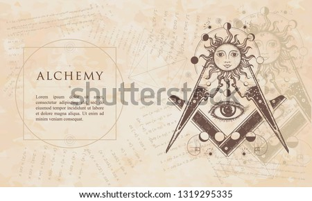 Alchemy. All seeing eye. Renaissance background. Medieval manuscript, engraving art