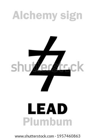 Alchemy Alphabet: LEAD (Plumbum, Plumbum nigrum; Saturn), one of seven ancient metals, inferior metal. Also: «Prima Materia», Imperfect matter; eq.: lead, black lead, plumbing. Chemical formula=[Pb]. Stockfoto ©