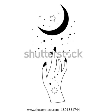 Alchemy esoteric mystical magic celestial talisman with woman hand, moon, stars sacred geometry isolated. Spiritual occultism object. Vector illustrations in black outline style