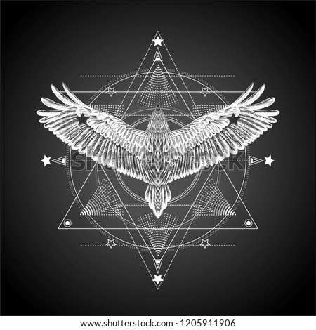 Alchemy.Masonic symbol.Geometric pattern with hand drawn flying bird.Six pointed star.Ornamental composition with sacred geometry.Alchemy,religion, spirituality,occultism.Conspiracy theory.