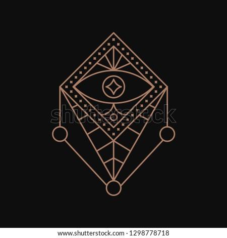 Alchemy sacred geometry. Triangle eye.