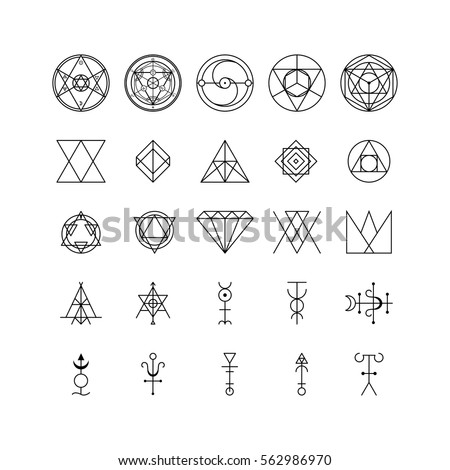 Alchemy Thin Line Icon Set Trendy Geometric Symbol Design Element Art for Web and App. Vector illustration