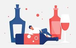 Alcohol addiction concept vector illustration. Cartoon adult man addict drinker character lying on empty big bottle next to glass of red wine drink, problem of alcoholic bad unhealthy habit background