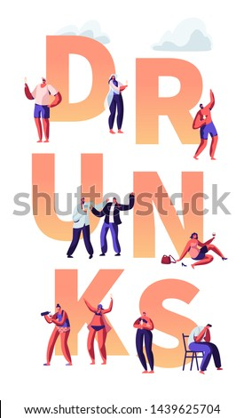 Alcohol Addiction People Concept. Characters Pernicious Habits and Substance Abuse, Drunk Men and Women Lying on Ground, Puking. Poster, Banner, Flyer, Brochure. Cartoon Flat Vector Illustration
