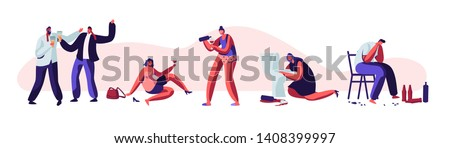 Alcohol Addiction People Set. Male and Female Human Characters Having Pernicious Habits Addictions and Substance Abuse, Drunk Men and Women Lying on Ground, Puking. Cartoon Flat Vector Illustration